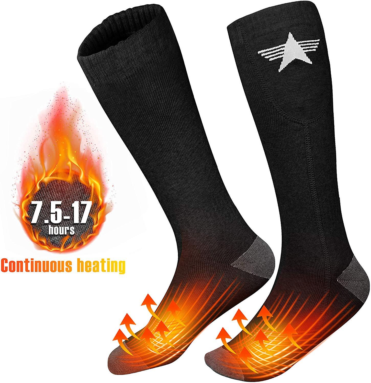 EEIEER Chaussettes Chauffantes, 3.7V 4000mAh 7.5-17 Heures Durable Lavable Chauffe-Pieds Chaussettes Chauffantes Rechargeables pour Femme Homme, pour.
